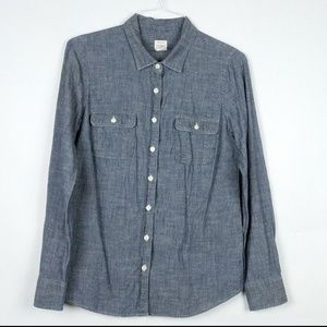 J Crew Button Front Tab Sleeve Denim Perfect Shirt
